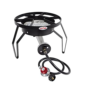 GAS ONE 200,000 BTU Single Burner Outdoor Stove Propane Gas Cooker with Adjustable 0-20PSI CSA Listed Regulator and Hose Perfect for Home Brewing, Turkey Frying, outdoor cooking,emergency preparedness