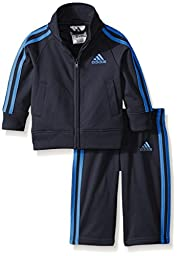 adidas Baby Boys\' Iconic Tricot Jacket and Pant Set, Mercury Grey, 12 Months
