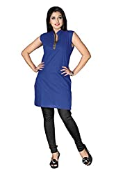 Shahlon Women's Blue Crepe Kurti Fabric