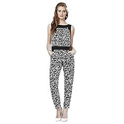 Eavan Women's Casual Wear Black Animal Printed Jumpsuit Polyester Jumpsuit