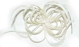 Ladies Cream Sinamay Fascinator on Hair Clip & Brooch Pin