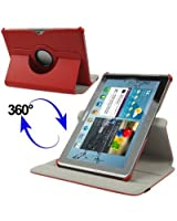 Custodia cover in pelle rotabile 360 con supporto per samsung galaxy tab 2 10.1 rosso