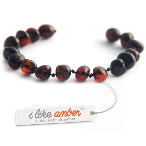 13.5cm Genuine Baltic Amber Teething Bracelet Anklet Child Baby size Cherry color Baroque Beads