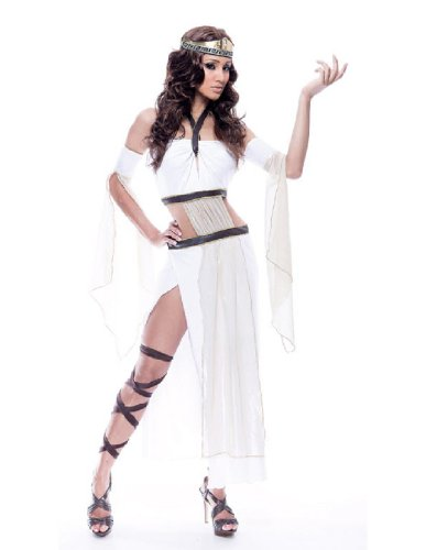 [Paper Magic Womens French Kiss Grecian Goddess Costume, White/Brown, Large] (French Kiss Costume)