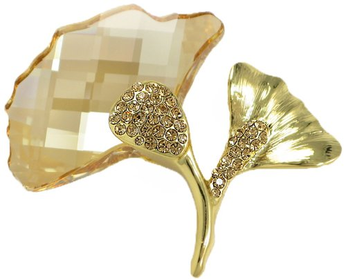 Gingko Swarovski Elements Crystal Brooch Pin