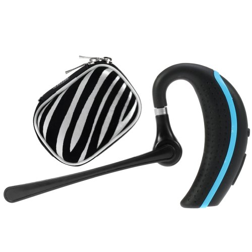 iKross Black Blue Wireless Bluetooth Handsfree Headset with Boom Microphone Zebra Headset Eva Case for Samsung Galaxy Tab 3 Lite - Galaxy NotePro 122 101 84 and more