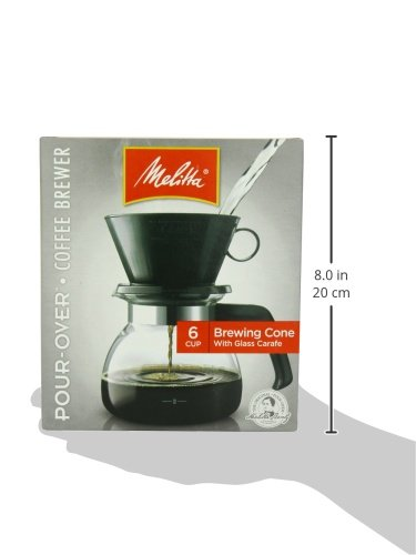 Melitta Coffee Maker, 6 Cup Pour-Over Brewer with Glass Carafe, 1-Count Home Garden Kitchen ...