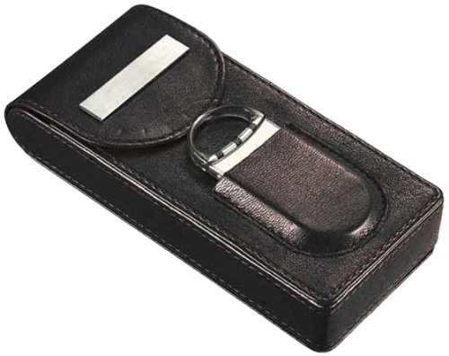 Visol VCASE709 Caldwell Black Leather Cigar Case with Cigar Cutter