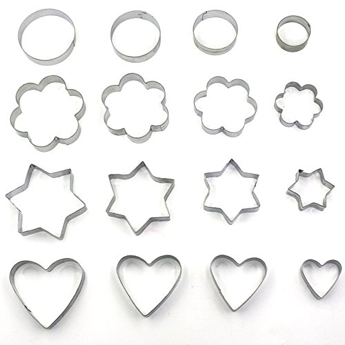 Trasfit Set of 16 Metal Cookie Cutters Set: Stars, Flowers, Round and Hearts Shape (Assorted Sizes) (Bread Cutter Round compare prices)