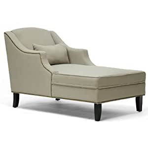 Asteria Putty Linen Modern Chaise Lounge Gray Kitchen Dining