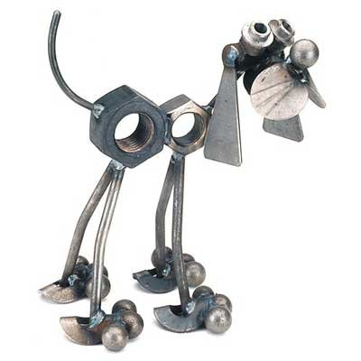 Nuts the Dog Recycled Metal Sculpture
