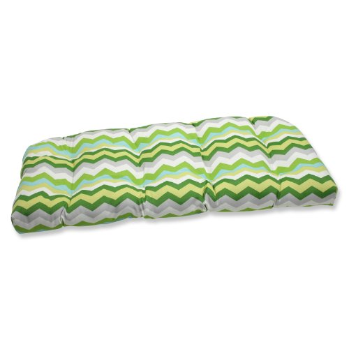 Pillow Perfect Outdoor Panama Wave Julep Wicker Loveseat Cushion, Mint image