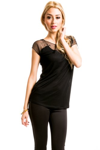 Mesh Neckline Top in Black