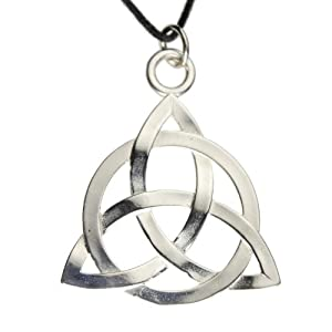 Triquetra Trinity Knot Silver Dipped Pendant Necklace on Adjustable Natural Fiber Cord