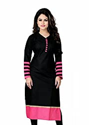 FabPandora Black & Pink Fancy Cotton Kurti For Women's(Black Pink Kurti)