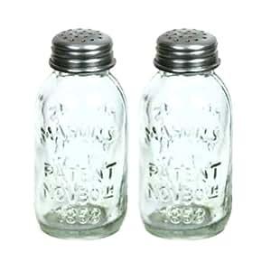 Amazon Com Set Of 2 Glass Mason Jar Salt And Pepper