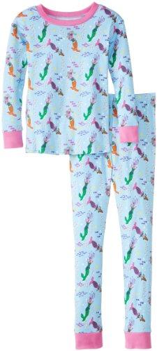 New Jammies Big Girls' Organic Pajamas Mermaids, Blue/Pink, 8