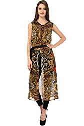 MEEE SLIT LONG MAXI TOP WITH BELT (Small)