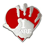 I Care Volunteer Heart and Hand Lapel…