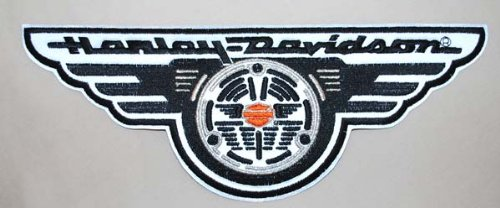 House of Harley-Davidson® Reflective Night Vision Winged Horn Patch. Nostalgic Horn Design. Ten Inches Wide. EM0224