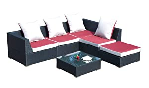 gartenm bel outlet ambientehome 63709 loungegruppe nairobi 6 teilig polyrattan schwarz. Black Bedroom Furniture Sets. Home Design Ideas