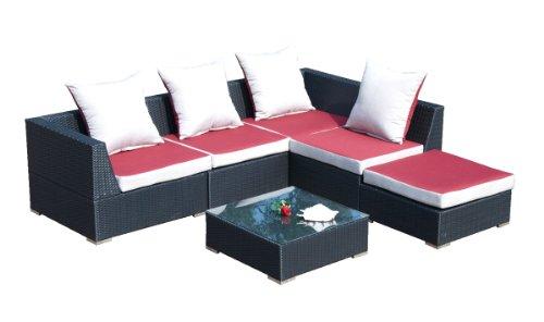 gartenm bel preisvergleich ambientehome 63709 loungegruppe nairobi 6 teilig polyrattan schwarz. Black Bedroom Furniture Sets. Home Design Ideas