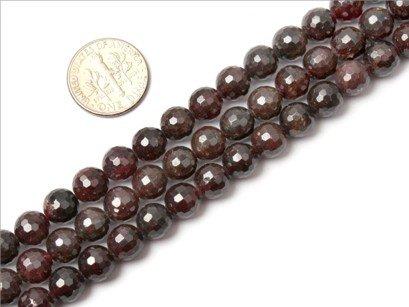 8mm round faceted gemstone garnet beads strand 15