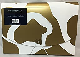 Cynthia Rowley, Expanding File Folder, 7-Pockets, Gold and White (28059)