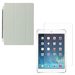 DMG Ultra Slim Magnetic Smart Shell Stand Cover Case for Apple iPad Mini / Mini 2 / Mini 3 (Grey) + Tempered Glass Screen Protector