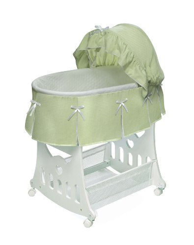 Why Should You Buy Badger Basket Company Portable Bassinet 'N Cradle with Toybox Base, Sage Waffle P...