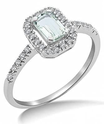 Miore 9ct White Gold Green Amethyst and Diamond Engagement Ring SA9025R
