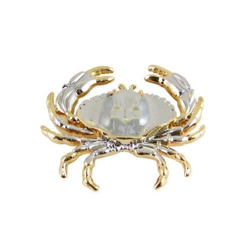 Silver and Gold Crab Brooch Pin Dual Tone Necklace Converter