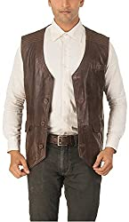 Alpha Men's Classic Leather Jacket (Choco Brown, 2XL)