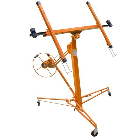 Heavy Duty Orange Steel 11ft Ceiling 15-foot Wall Drywall Lift w/ Wheels 150lb, Plasterboard Sheetrock Panel Lifter Construction Handling Equipment Hoist Professional