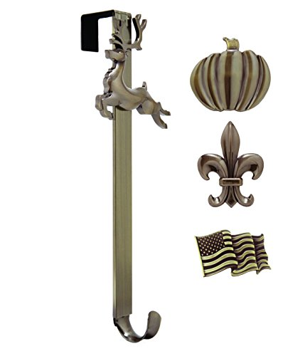 Adjustable Length Wreath Hanger with Interchangeable Icons (Oil Rubbed Bronze-Flag/Reindeer/Pumpkin/Fleur de lis)