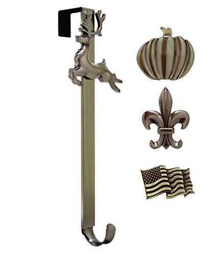 Adjustable Length Wreath Hanger with Interchangeable Icons (Oil Rubbed Bronze-Flag/Reindeer/Pumpkin/Fleur de lis)