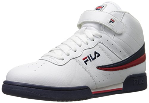 Fila Men's F-13V LEA/SYN Fashion Sneaker, White/Fila Navy/Fila Red, 8.5 M US
