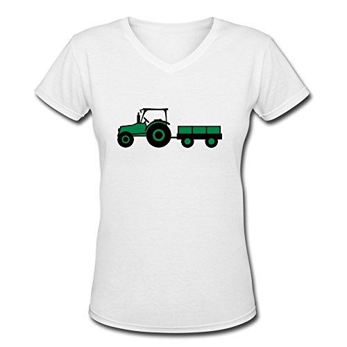 Tasy 100% Cotton V-Neck Women'S Tractor Trailer T-Shirt - L White