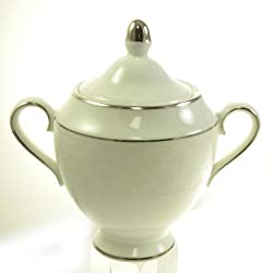 Petal Lattice Ecru Sugar Bowl and Lid by Martha Stewart Wedgwood