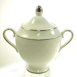 Petal Lattice Ecru Sugar Bowl and Lid by Martha Stewart Wedgwood