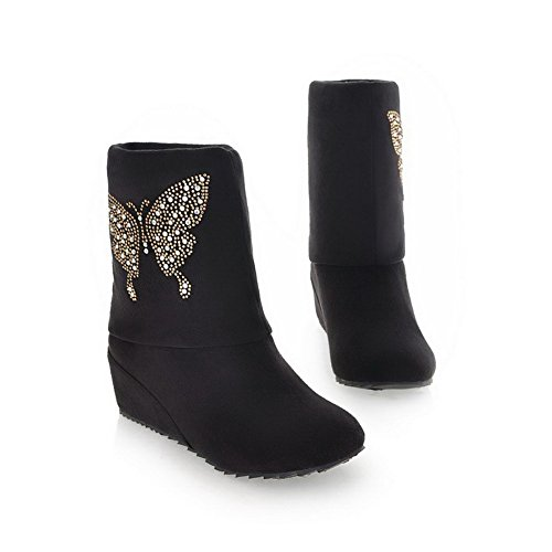 Voguezone009 Womens Closed Round Toe Kitten Heel Pu Frosted Solid Boots With Glass Diamond, Black, 35