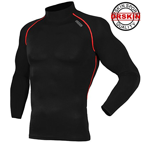 SR041 Compression Tight Shirt Tight Compression Base layer Running Shirt men women (XL)-black (Skin Heat compare prices)