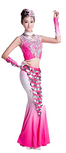 Chinese Dai Nationality Stage Dance Coustumes Fishtail Skirt
