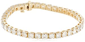 IGI Certified 14k Yellow Gold 4-Prong Diamond Tennis Bracelet (10.00 cttw, H-I Color, I1-I2 Clarity), 7''