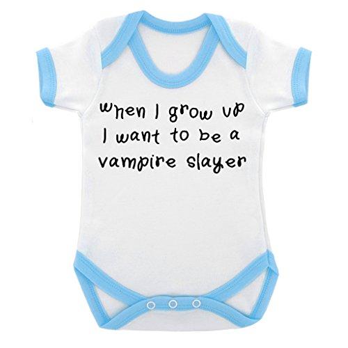 When I Grow Up...Vampire Slayer-Body per neonato, colore: blu con bordi a contrasto con stampa & colore: nero, Blu, 6-12 Mesi