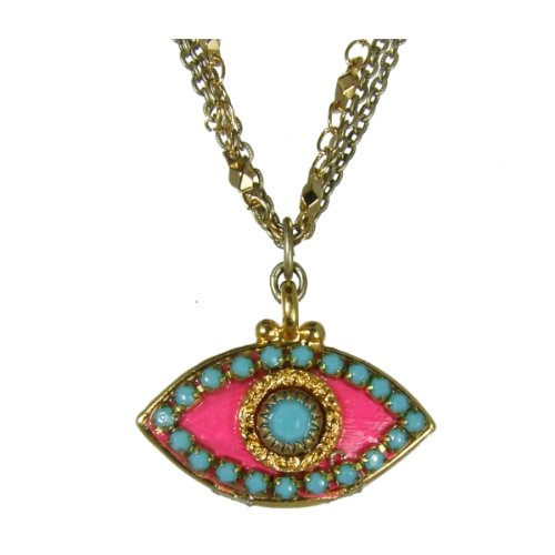 Michal Golan Blue, Gold and Hot Pink Evil Eye Pendant Necklace