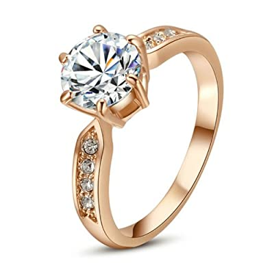 Yoursfs 1.5CT Simulated Diamond Gemstone Engagement Rings 18K Rose Gold Plated Six Claw Setting
