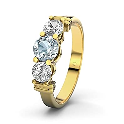 21DIAMONDS Sabrina Aquamarine Brilliant Cut Engagement Ring, 9ct Yellow Gold Ladies Engagement Ring