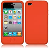 IPHONE 4 / IPHONE 4G SOFT SILICONE SKIN CASE - ORANGE PART OF THE QUBITS ACCESSORIES RANGEby Qubits