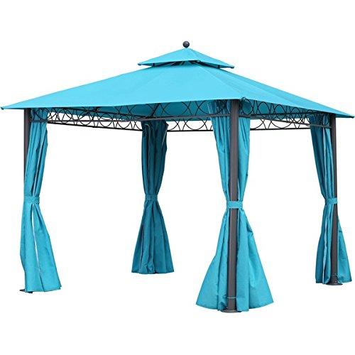 [해외]10 피트 내후성, 캐노피 더블 통풍 및 드레이프 스퀘어 가제 보, 블루/10-Foot Weather Resistant, Canopy Double-vented and Drapes Square Gazebo, Blue